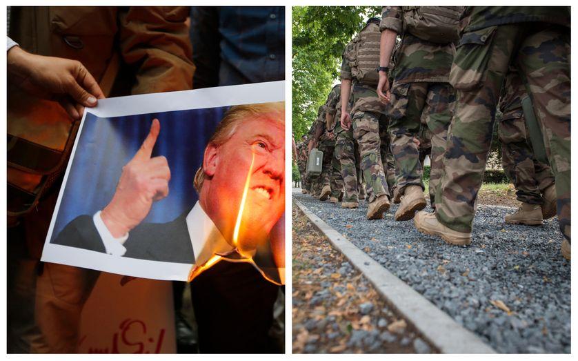 Gauche : Des iraniens brûlent la photo de Donald Trump au lendemain de l'annonce du retrait des Etats-Unis de l'accord sur le nucléaire iranien, 9 mai 2018 / Droite :  Soldats de l'armée française