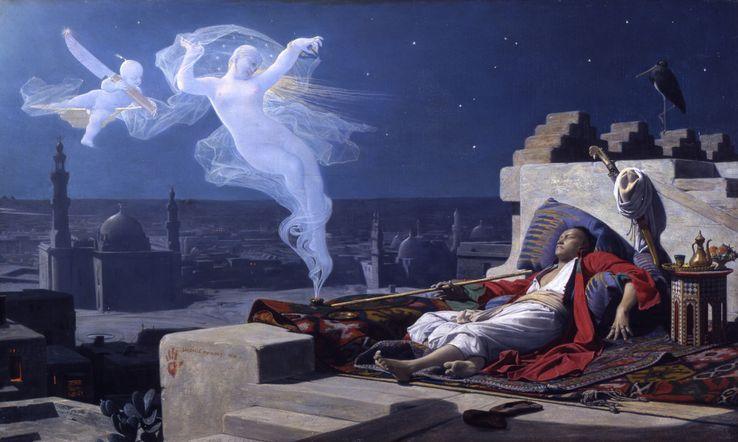 """""""Le Songe de l'eunuque"""", Jean-Jules-Antoine Lecomte du Nouÿ, 1874 (39.3 × 65.4 cm, huile sur toile)"""