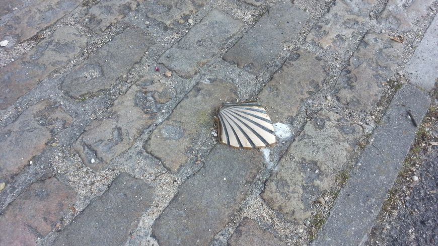 L'un des 67 clous-coquilles matérialisant le cheminement dans Bourges pour les pèlerins de St- Jacques.