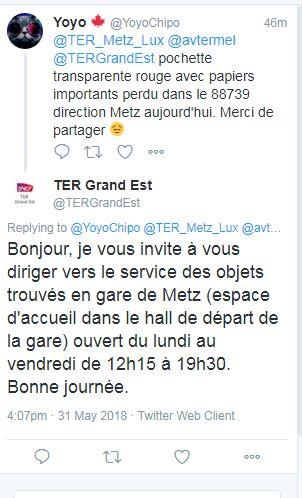 Discussion entre un usager du TER et le Community manager du fil twitter GrandEst