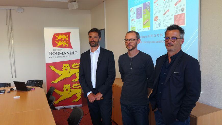 Le proviseur du lycée Jean Rostand et deux des futurs enseignants du micro-lycée, à Caen.