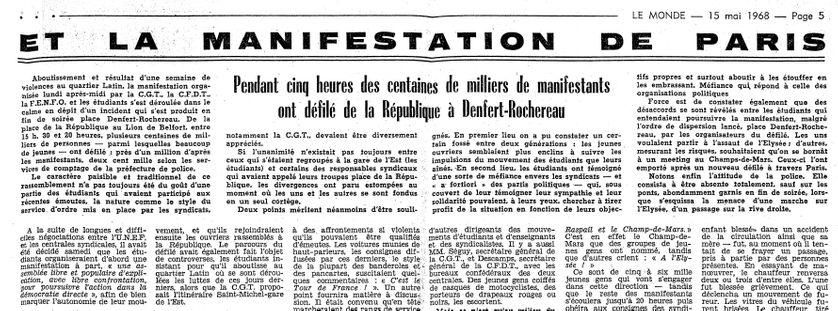 L'article du Monde qui relate la journée du 13 mai 1968