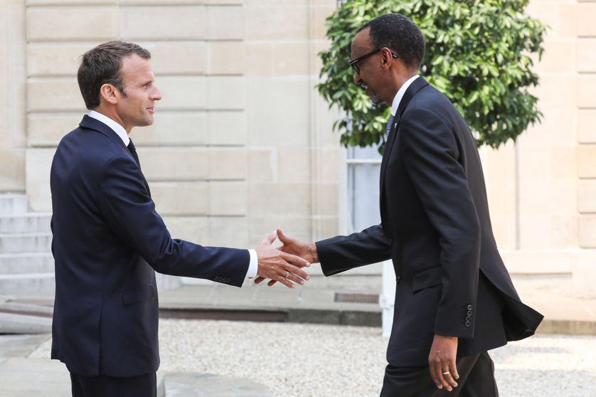 Le président français Emmanuel Macron et le président rwandais Paul Kagamé, le 23 mai 2018