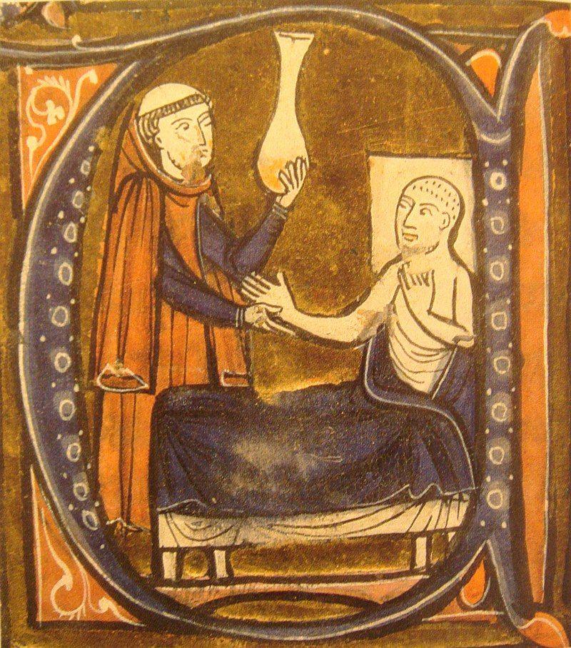 Miniature représentant le médecin Rhazès, dans le recueil des traités de médecine de Gérard de Crémone, vers 1250-1260