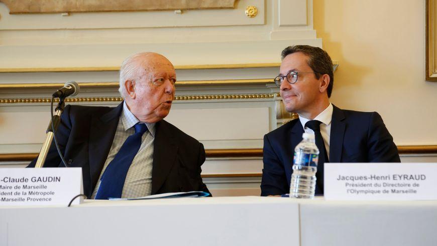 Jean-Claude Gaudin et Jacques-Henri Eyraud à l'hôtel de ville de Marseille