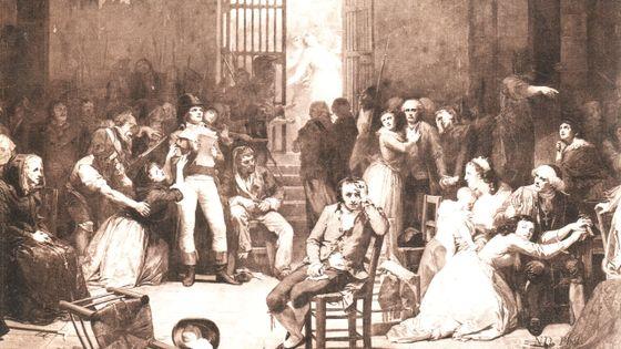 L'appel des dernières victimes de la terreur dans la prison de Saint-Lazare (assis, au centre : André Chénier)
