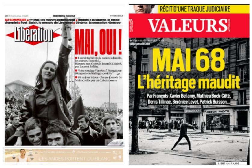 Les Unes de Libération et de Valeurs actuelles à l'occasion du cinquantenaire de mai 68.