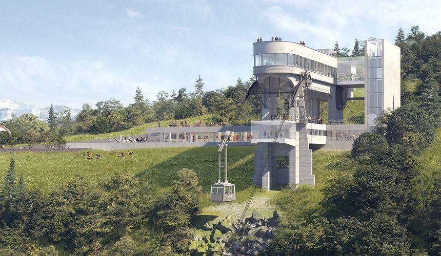 Image d'architecte, vue de face du projet de rénovation de la gare haute du téléphérique du Salève (@DDAarchitectes)