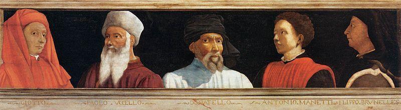 Portraits de Giotto, Paolo Uccello, Donatello, Antonio Manetti et Filippo Brunelleschi, anonyme, école florentine, entre 1490 et 1550,