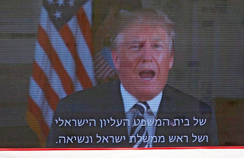 Donald Trump dans un message vidéo enregistré diffusé lors de l'inauguration de l'ambassade américaine à Jérusalem le 14 mai 2018