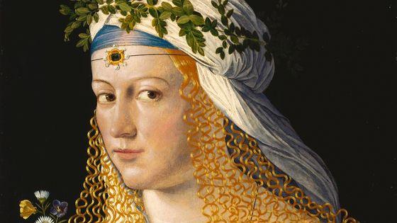 Portrait de femme (traditionnellement considérée comme Lucrèce Borgia), peinture de Bartoloméo Veneto (détail)
