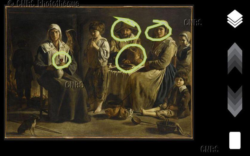 """Le tracé d'un visiteur concernant le tableau """"Famille de paysans"""", de Louis Le Nain, au Louvre-Lens."""