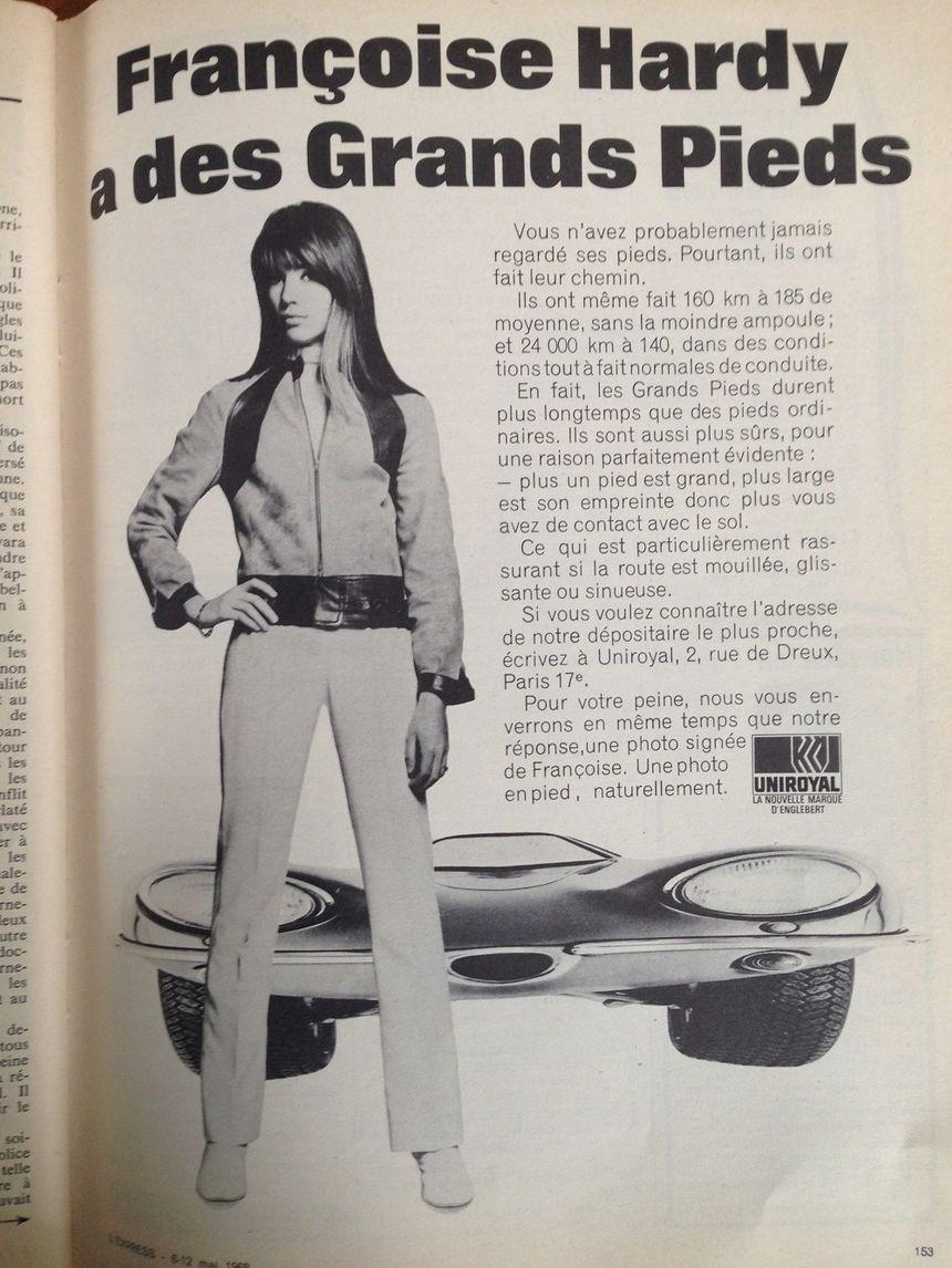 La publicité des pneus Uniroyal, avec Françoise Hardy en vedette.