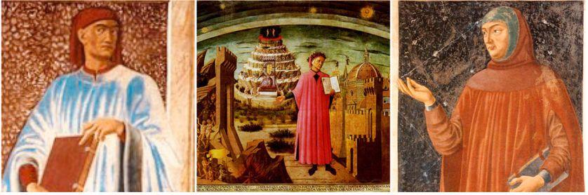 Portrait de Boccace par A. del Castagno (vers 1450)/ Domenico di Michelino, Dante et la Divine Comédie. Fresque située dans la nef du Dôme de Florence, Italie/Pétrarque peint par Andrea del Castagno, Galerie des Offices, Florence