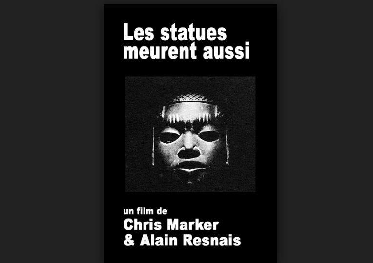 """Affiche du film de Chris Marker et Alain Resnais """"Les statues meurent aussi"""" commande de """"Présence Africaine"""", Prix Jean Vigo 1954"""