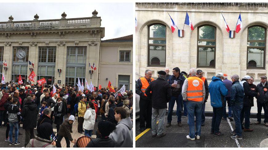 Près de 1000 personnes à l'appel de la CGT et Solidaires devant la gare de Valence, une quarantaine devant la mairie à l'appel de la CFDT.