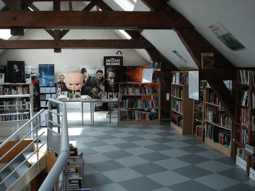 Le premier étage est aménagé en bibliothèque, où une dizaine de lecteurs peuvent simultanément consulter des livres consacrés au 7e art.