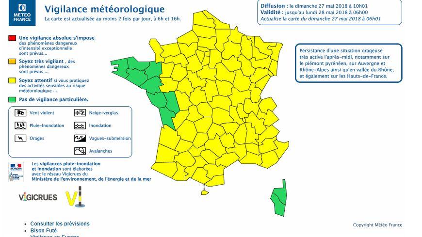 Carte Lalsace.Orages Meteo France Place L Alsace En Vigilance Jaune