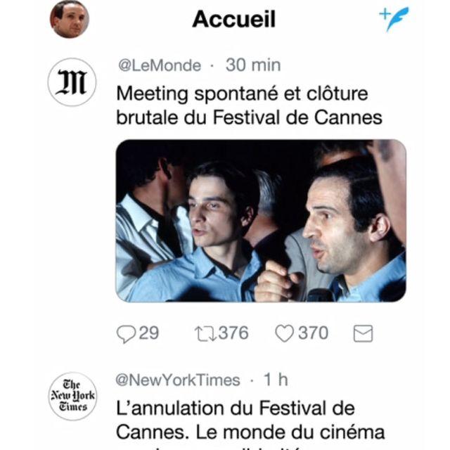 Sur Twitter Le Monde et New York Times annonce la clôture du Festival de Cannes en 1968