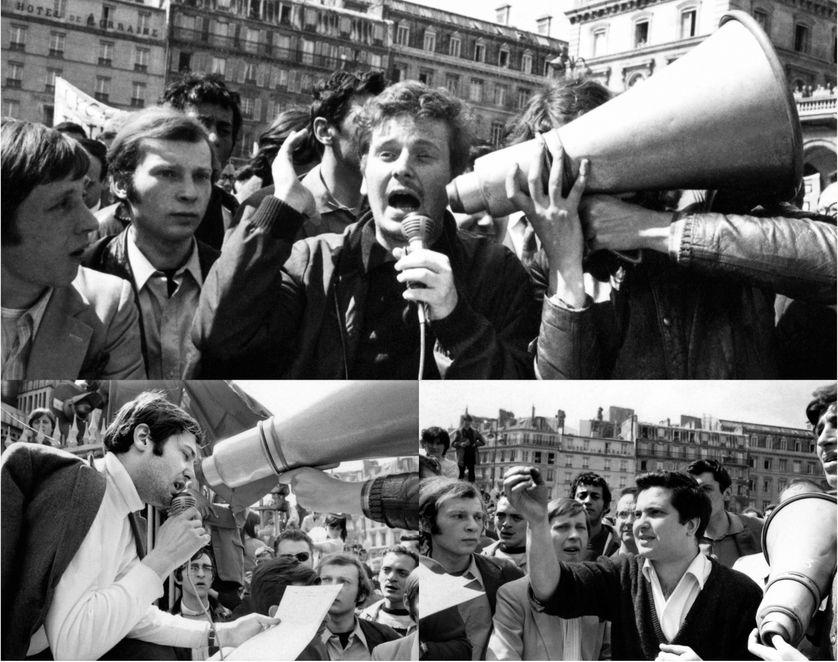 De haut en bas, de gauche à droite : Daniel Cohn-Bendit, Jacques Sauvageot et Alain Geismar