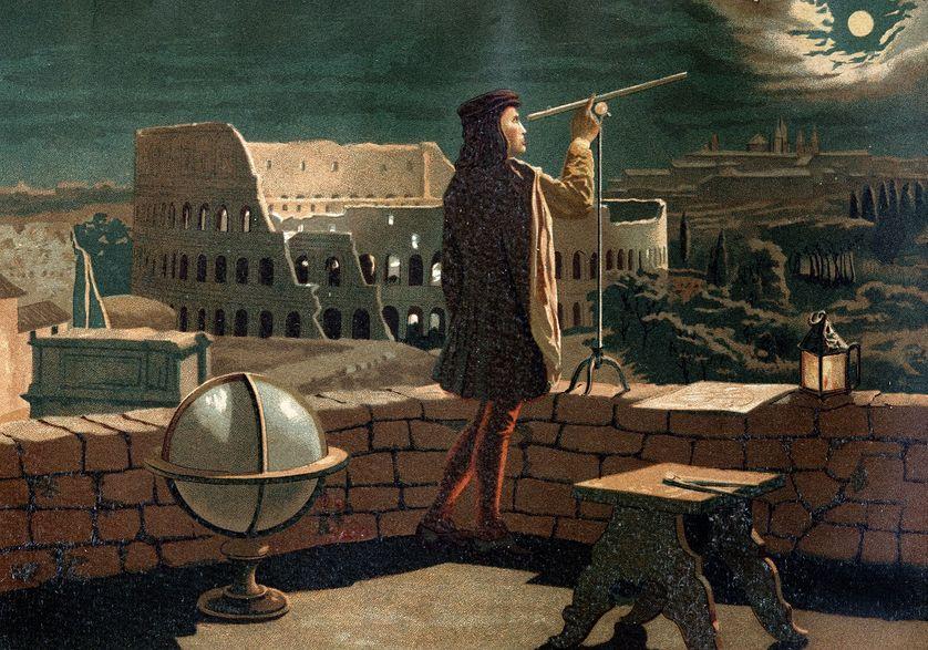 """Nicolas Copernic (Nicolaus Copernicus, 1473-1543), astronome polonais, observant une éclipse de lune à Rome d'après """"La Ciencia y sus Hombres"""". par Louis Figuier, Barcelona 1881."""