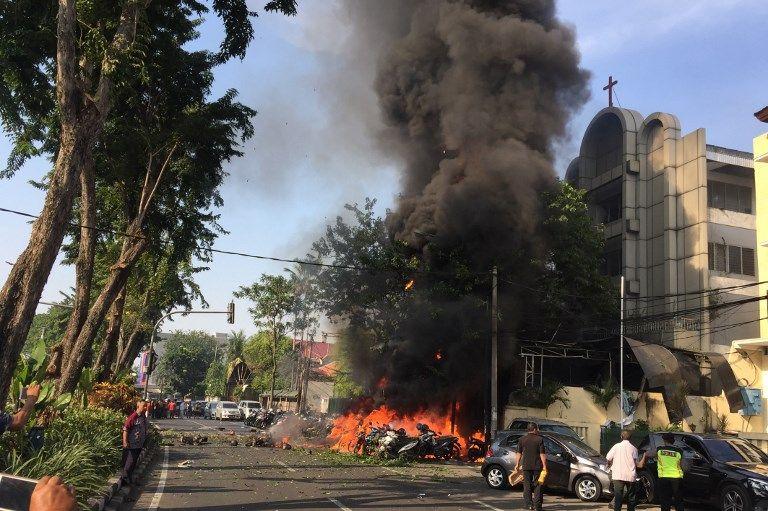 L'une des 3 églises attaquées simultanément à Surabaya, la 2e plus grande métropole d'Indonésie (5,6 millions d'habitants), lors de la messe de dimanche
