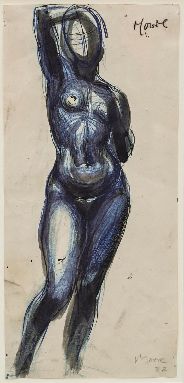 Henry Moore, Standing Nude Girl, One Arm Raised, 1922
