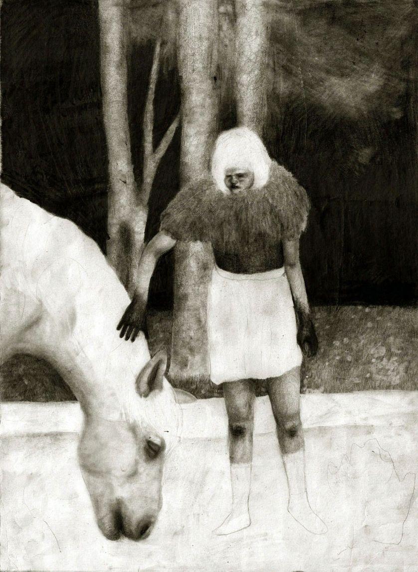"""Rebecka Tollens – """"5"""", 2017, mine de plomb et fusain sur papier – 52 x 38 cm"""