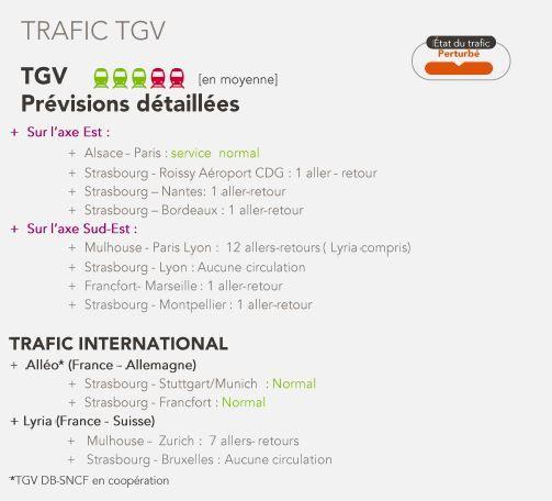 Trafic TGV en Alsace pour le mercredi 23 mai.