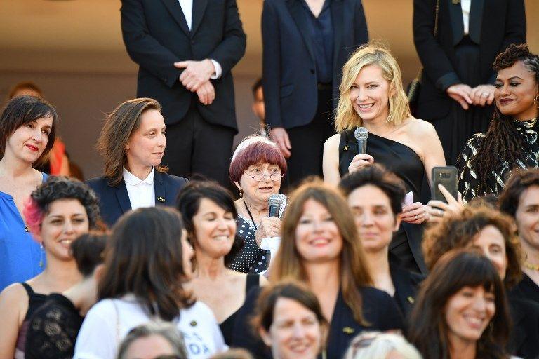 Agnès Varda et Cate Blanchett déclament un discours sur le manque de représentation des femmes réalisatrices lors du 71ème festival de Cannes