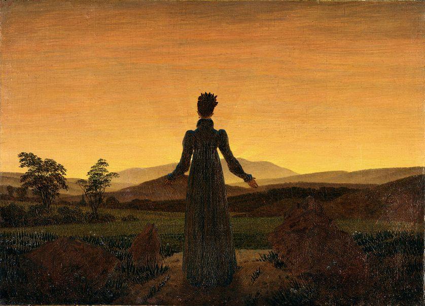 Femme devant un coucher de soleil, Caspar David Friedrich
