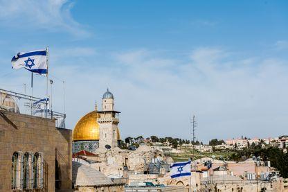 Drapeau israélien à Jerusalem