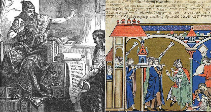 Le roi Josias écoutant les livres de la loi, 1873 / David ramenant l'Arche à Jérusalem, illustration de la Bible de Maciejowski, XIIIème siècle