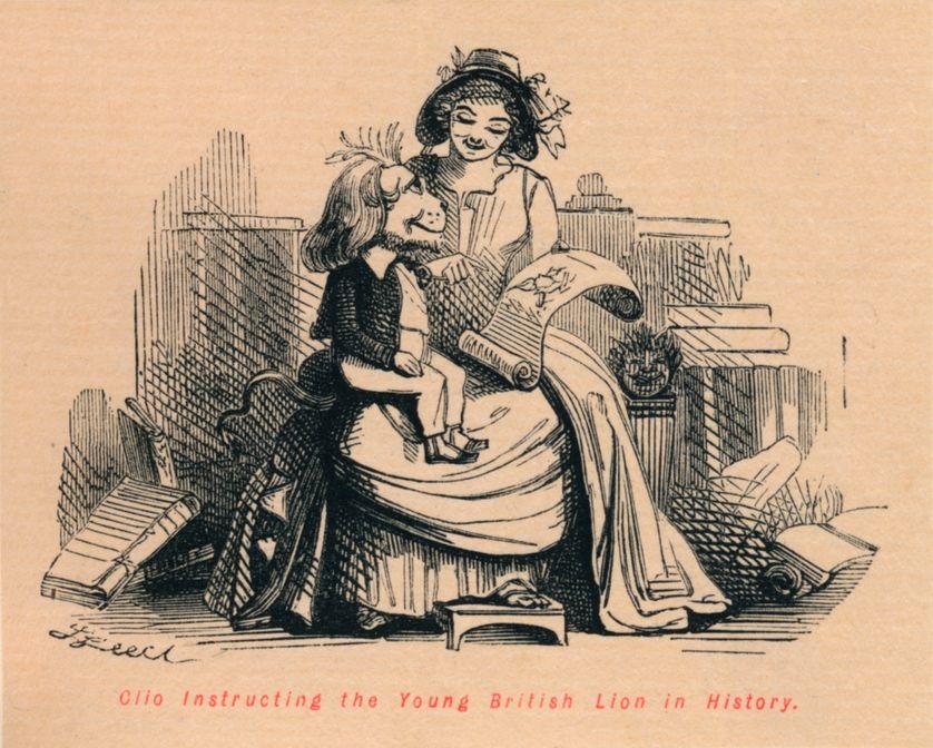 Clio, la muse de l'histoire, instruit le jeune lion britannique