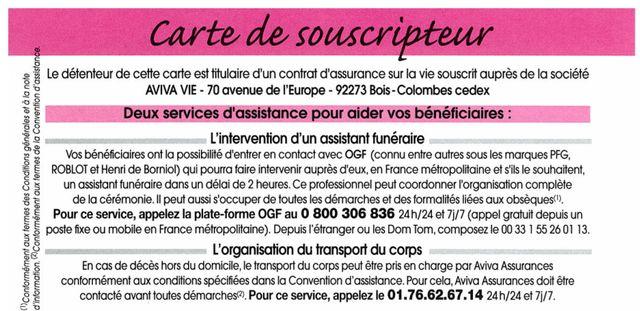 Fournie par un assureur, une carte souscripteur qui oriente vers le groupe OGF. Détournement de clientèle ?