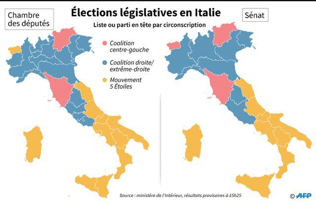 Les résultats des législatives italiennes par région