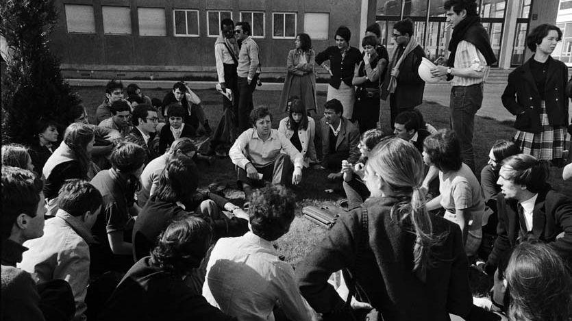 Un sit-in à l'université de Nanterre avec Daniel Cohn-Bendit (milieu) le 29 mars 1968.