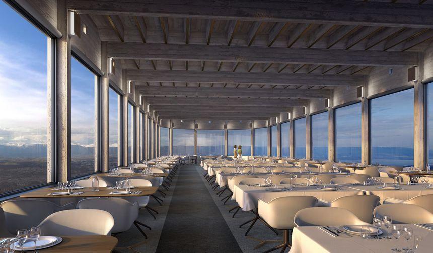 Image d'architecte de l'intérieur du futur restaurant panoramique du téléphérique du Salève (@DDAarchitectes)