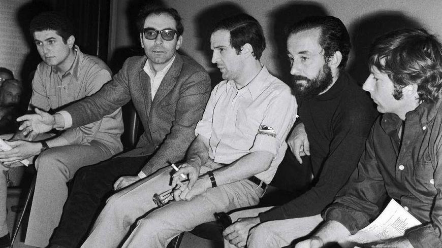 1968 à Cannes lors du festival, conférence de presse des réalisateurs (de gauche à droite) Claude Lelouch, Jean-Luc Godard, Francois Truffaut, Louis Malle, Roman Polanski.