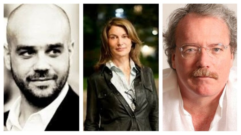 De gauche à droite : Antoine Albertini, Véronique Bizot (© Sacha Lenormand) et Alberto Barrera Tyszka
