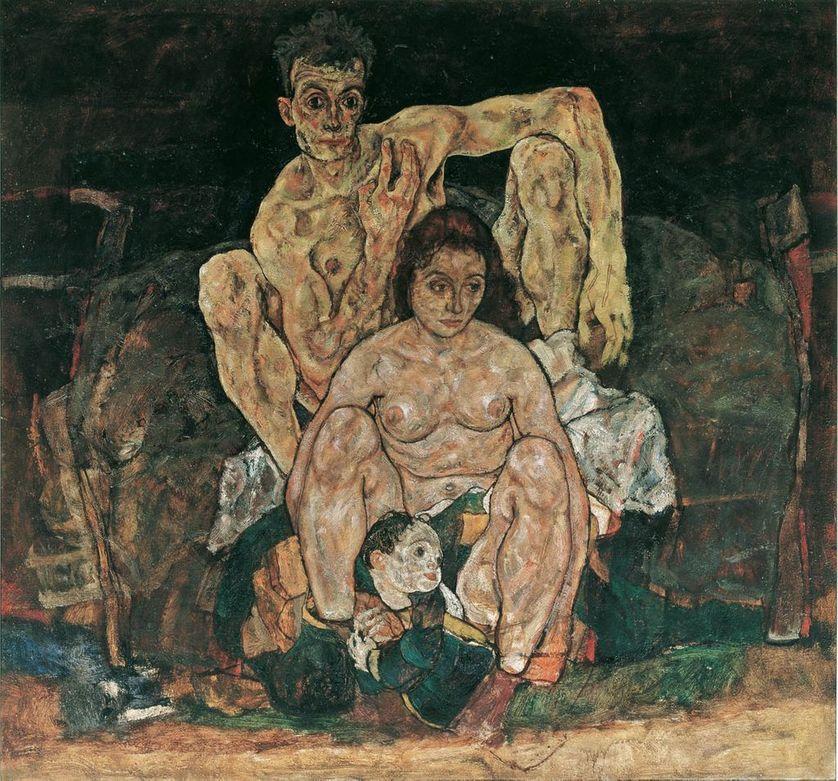 """Egon Schiele  (1890–1918), """"La Famille"""" (1918). Huile sur toile (150 × 160.8 cm)"""