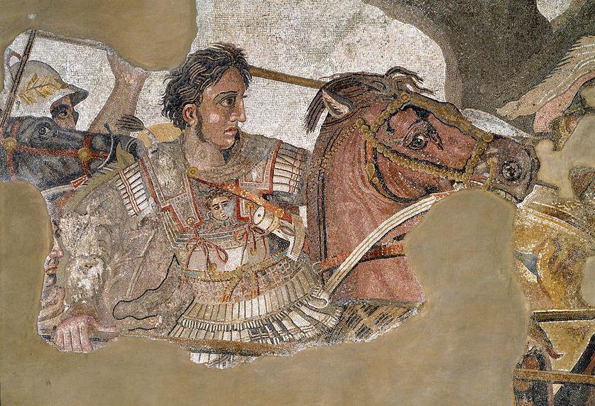 Alexandre le Grand, sur une mosaïque retrouvée à Pompéi.