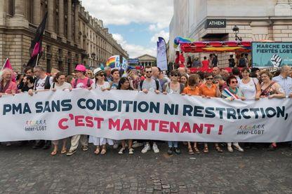 La LGBT milite pour l'ouverture de la PMA aux familles homoparentales, lors de la Gay Pride 2017 à Paris