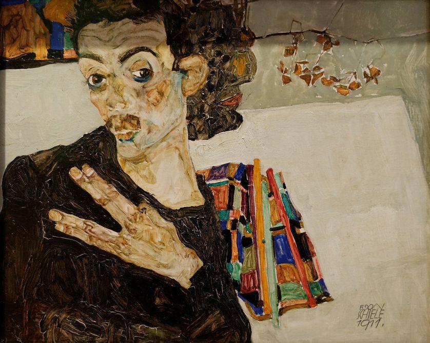 Egon Schiele (1890-1918). Autoportrait avec un récipient noir (1911)