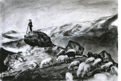 """Illustration de l'ouvrage """"On achève bien les éleveurs"""" coordonné par Aude Vidal et illustré par Guillaume Trouillard."""