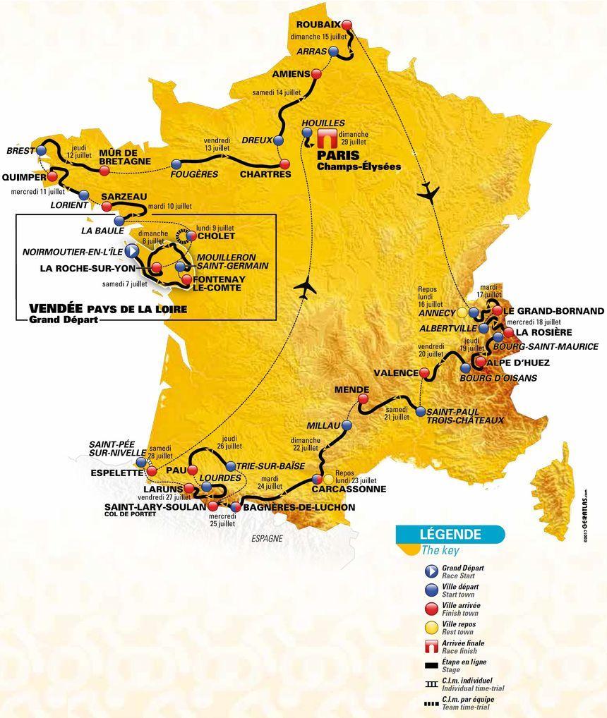 La carte officielle du Tour de France 2018
