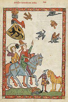 Fauconnerie à cheval au Moyen Âge. Les montures semblent être des palefrois de type genêt d'Espagne. Codex Manesse.