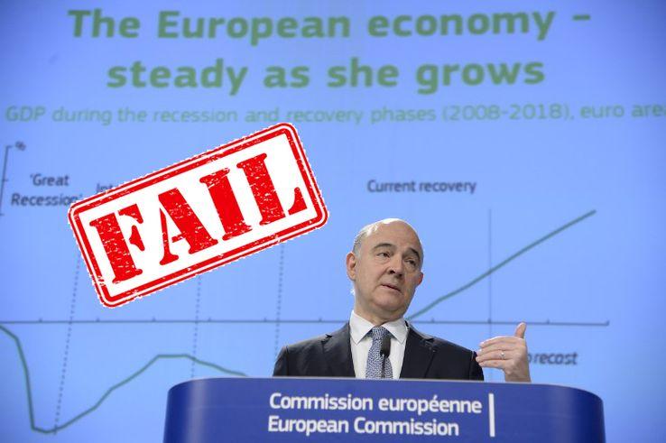 En 2017, Pierre Moscovici (ancien commissaire européen chargé des affaires économiques et financières, de la fiscalité et des douanes) parle aux médias des prévisions économiques printanières de l'UE au siège de la Commission européenne à Bruxelles