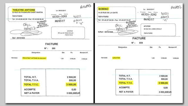 Les deux factures de 3 000 euros adressées à En Marche pour la location des théâtres de Jean-Marc Dumontet