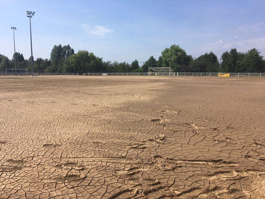 Le terrain de foot en herbe synthétique de Truchtersheim ravagé par la boue